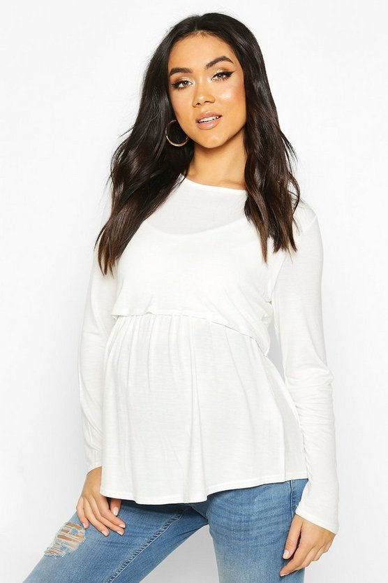 Womens White Maternity Long Sleeved Nursing Smock Top