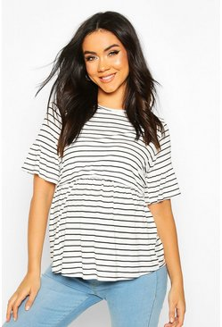 White Maternity Stripe Nursing Smock Top