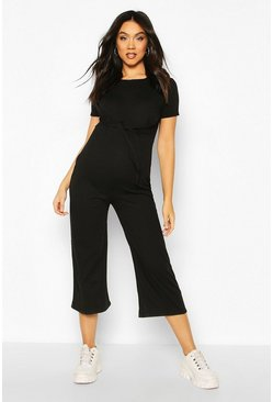 Black Maternity Tie Front Lounge Jumpsuit