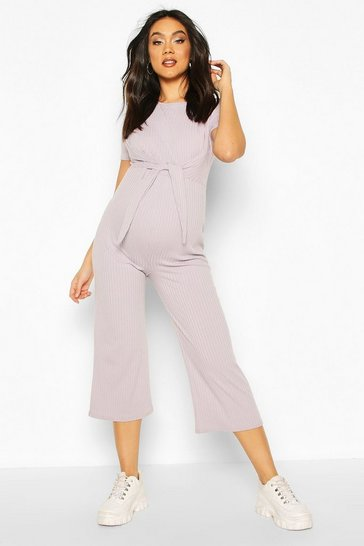 Light grey Maternity Tie Front Lounge Jumpsuit