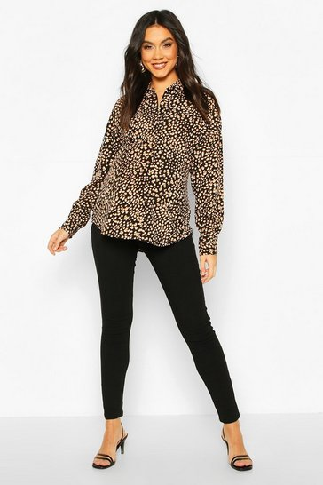 Womens Black Maternity Leopard Print Shirt