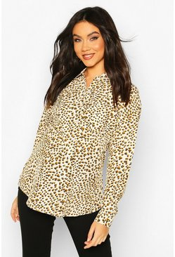 Cream Maternity Leopard Print Shirt
