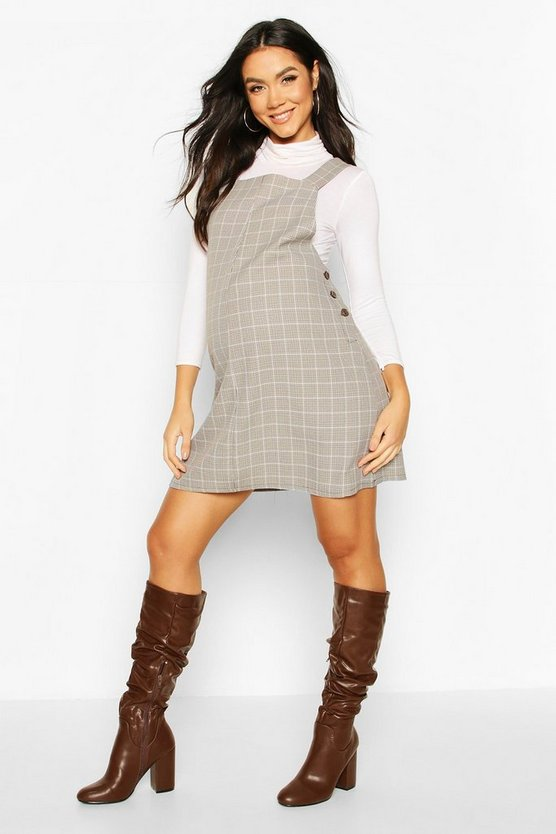 Brown Maternity Grow With Me Check Pinafore Dress
