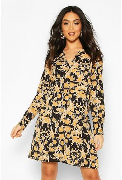 Maternity Floral Print Shirt Dress, Black