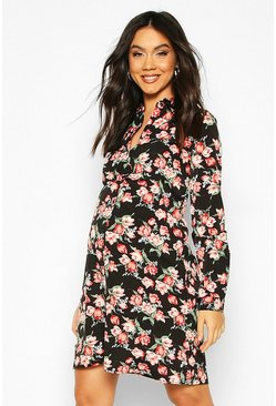Maternity Floral Shirt Dress, Black