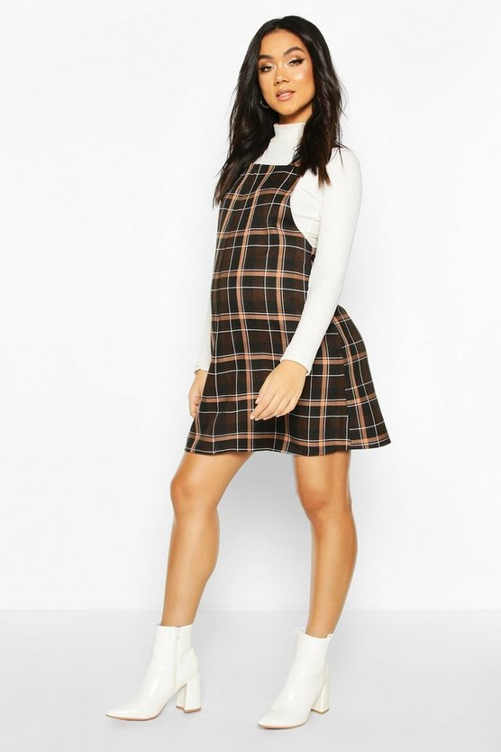 Maternity Grow With Me Check Pinafore