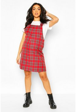 Maternity Check Pinafore Dress, Red