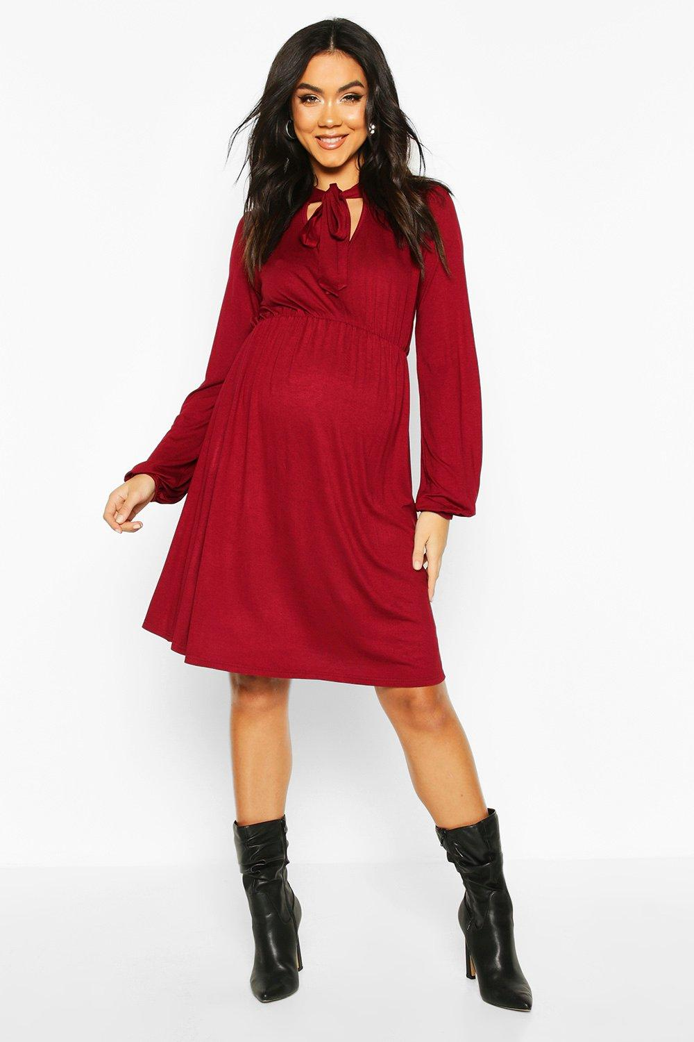 Vintage Style Maternity Clothes Womens Maternity Tie Neck Smock Dress - red - 12 $37.00 AT vintagedancer.com