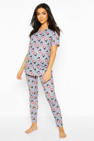 Grey Maternity Santa Pug PJ Trouser