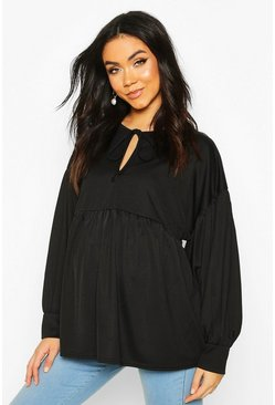 Maternity Tie Neck Smock Top, Black