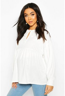 Cream Maternity Tie Neck Smock Top