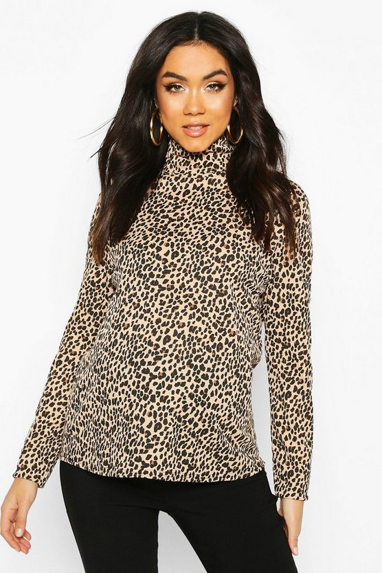Camel Maternity Long Sleeve Leopard Rib Roll Neck Top