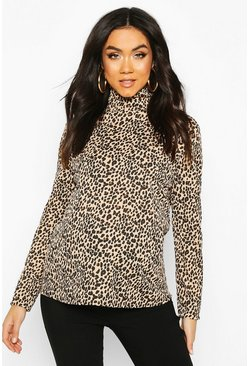 Maternity Long Sleeve Leopard Rib Roll Neck Top, Camel, FEMMES