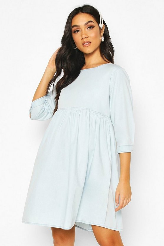 Light blue Maternity Denim Smock Dress