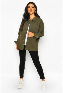 Khaki Maternity Twill Pocket Detail Shacket