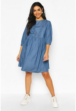 Mid blue Maternity Ruffle Detail Smock Denim Dress