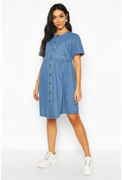 Maternity Button Front Denim Smock Dress, Mid blue