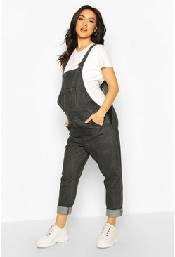 Charcoal Maternity Denim Dungaree