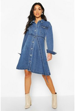 Maternity Button Front Denim Shirt Dress, Mid blue
