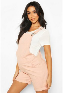 Maternity Dungaree Shorts, Dusky pink