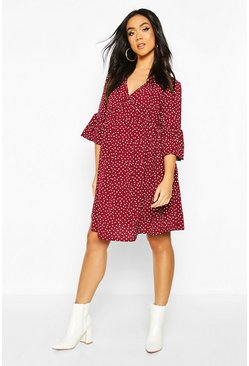 Wine Maternity Polka Dot Smock Dress