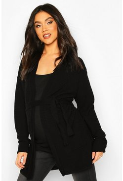 Black Maternity Rib Knit Pocket Tie Waist Cardigan