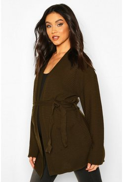 Khaki Maternity Rib Knit Pocket Tie Waist Cardigan