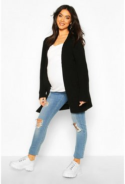 Black Maternity Pocket Detail Boyfriend Cardigan