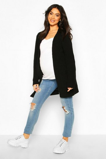 Womens Black Maternity Pocket Detail Boyfriend Cardigan