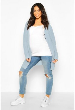 Maternity Pocket Detail Boyfriend Cardigan, Dusty blue