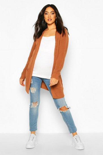 Womens Rust Maternity Pocket Detail Boyfriend Cardigan