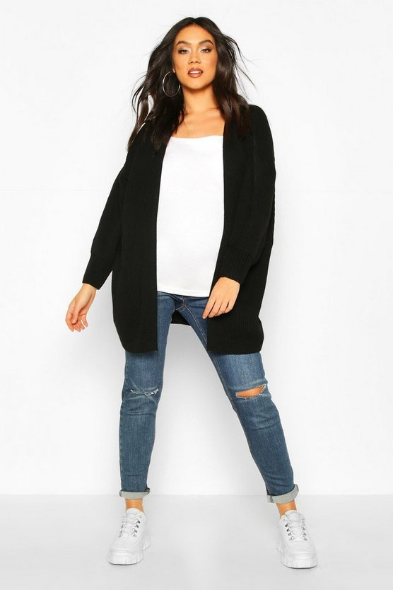 Black Maternity Bell Sleeve Knitted Cardigan