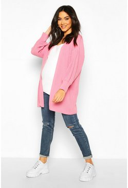 Womens Dusky pink Maternity Bell Sleeve Knitted Cardigan