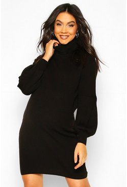 Black Maternity Balloon Sleeve Roll Neck Jumper