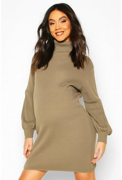 Khaki Maternity Balloon Sleeve Roll Neck Sweater