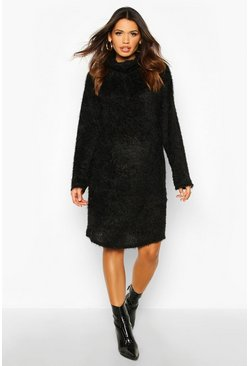 Womens Black Maternity Fluffy Roll Neck Jumper Dress