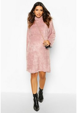 Dusky pink Maternity Fluffy Roll Neck Jumper Dress