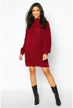 Maternity Turtle Neck Knitted Jumper Dress, Berry