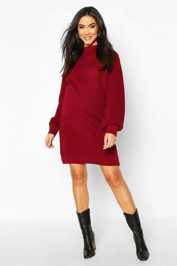 Womens Berry Maternity Turtle Neck Knitted Jumper Dress