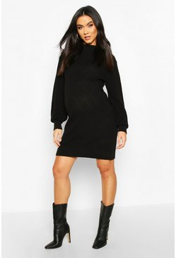 Black Maternity Turtle Neck Knitted Sweater Dress