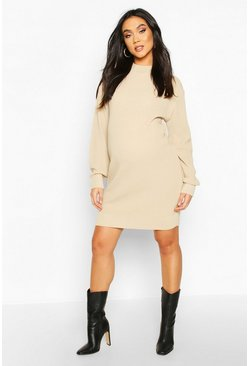 Maternity Turtle Neck Knitted Jumper Dress, Stone
