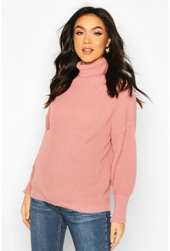 Dusky pink Maternity Balloon Sleeve Roll Neck Jumper