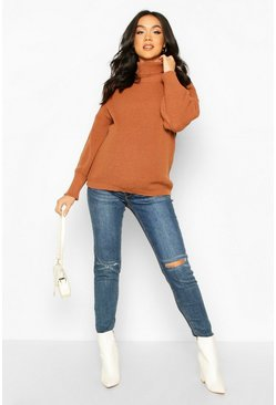 Rust Maternity Balloon Sleeve Roll Neck Jumper