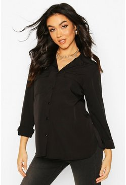 Maternity Pocket Detail Woven Shirt, Black