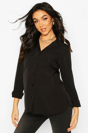 Womens Black Maternity Pocket Detail Woven Shirt