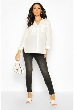 Cream Maternity Pocket Detail Woven Shirt