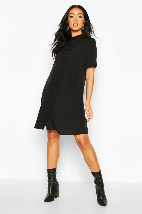 Black Maternity Button Front Shift Dress