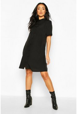 Maternity Button Front Shift Dress, Black