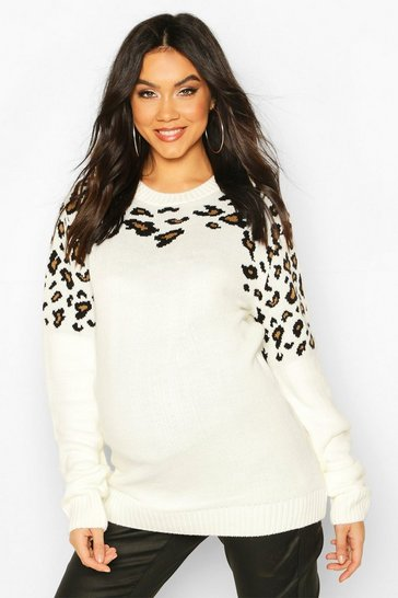 Cream Maternity Leopard Knit Jumper