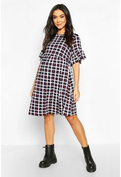 Navy Maternity Check Smock Dress